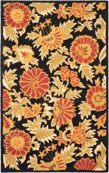 Black, Gold (A) Floral / Botanical Area Rug