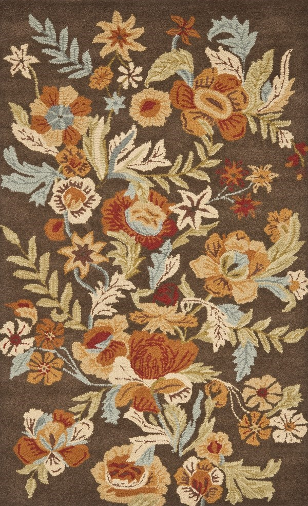 Brown, Rust (A) Floral / Botanical Area Rug