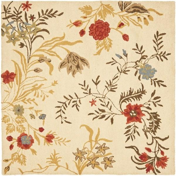 Beige, Gold (A) Floral / Botanical Area Rug