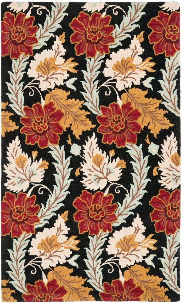 Black, Red (A) Floral / Botanical Area Rug