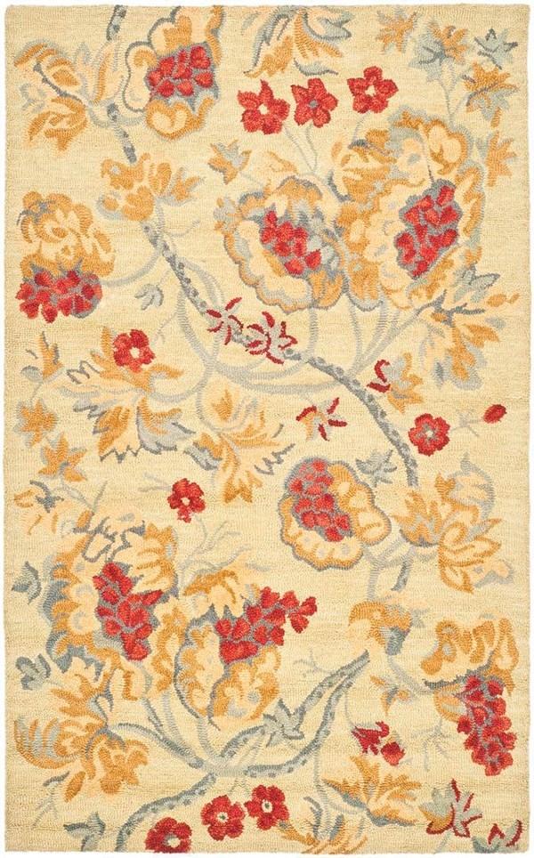 Beige, Red (A) Floral / Botanical Area Rug