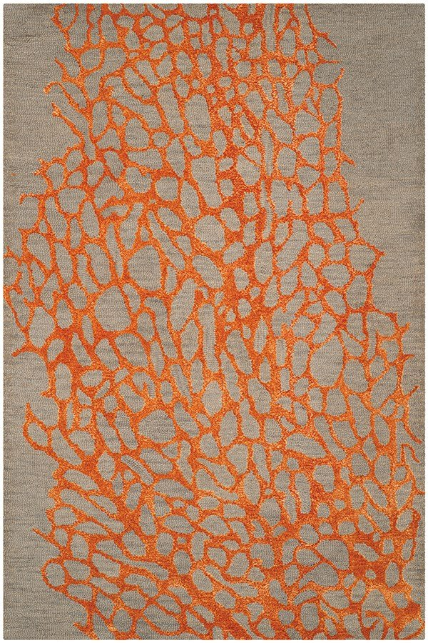 Grey, Orange (C) Contemporary / Modern Area Rug