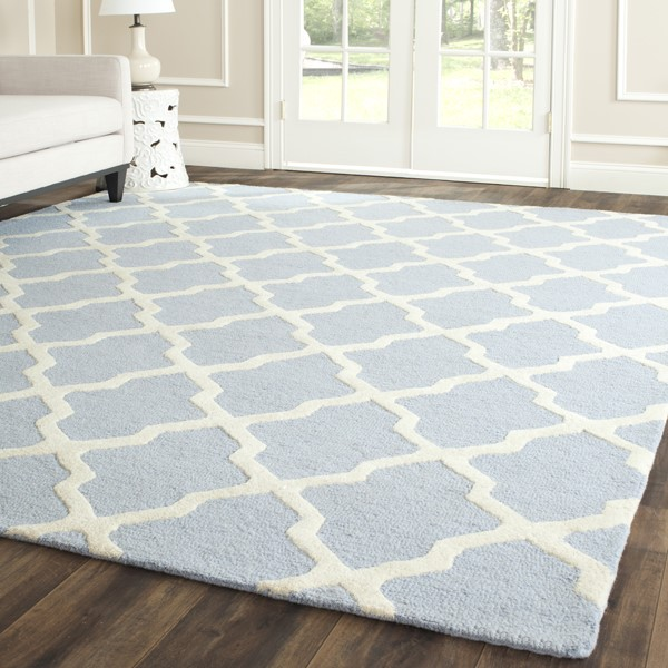 Light Blue, Ivory (A) Contemporary / Modern Area Rug