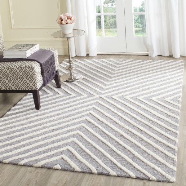 Silver, Ivory (D) Transitional Area Rug