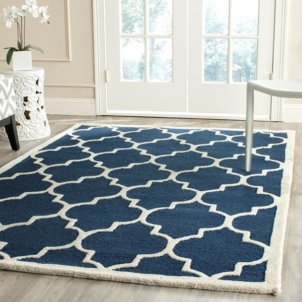 Navy, Ivory (G) Moroccan Area Rug