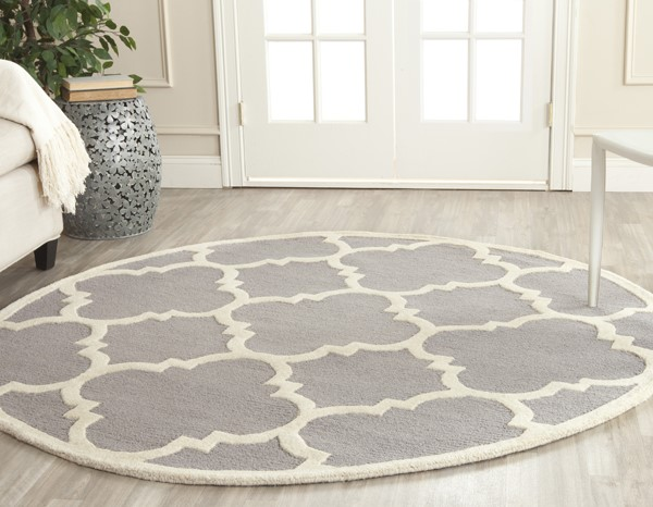 Silver, Ivory (D) Moroccan Area Rug