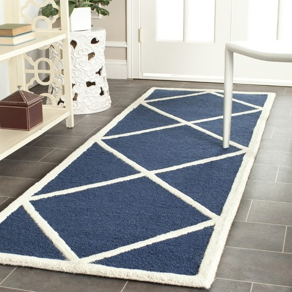 Navy, Ivory (G) Contemporary / Modern Area Rug