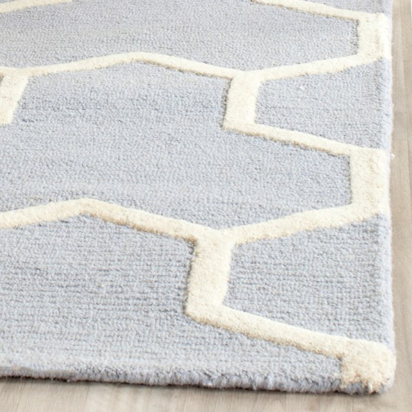 Light Blue, Ivory (A) Transitional Area Rug