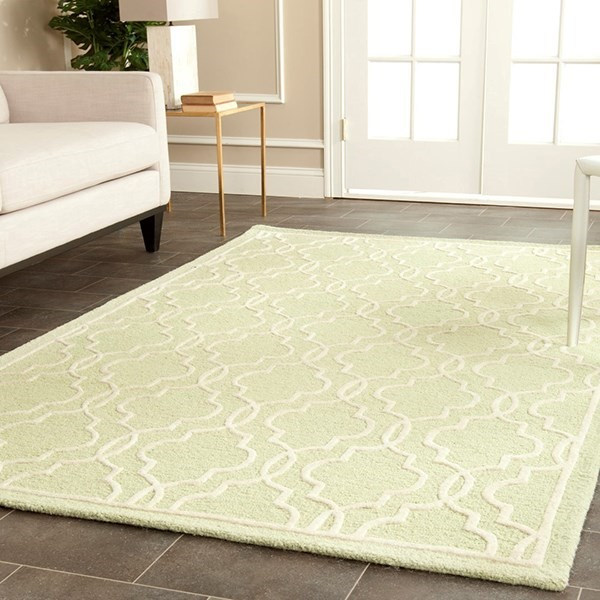 Light Green, Ivory (B) Contemporary / Modern Area Rug