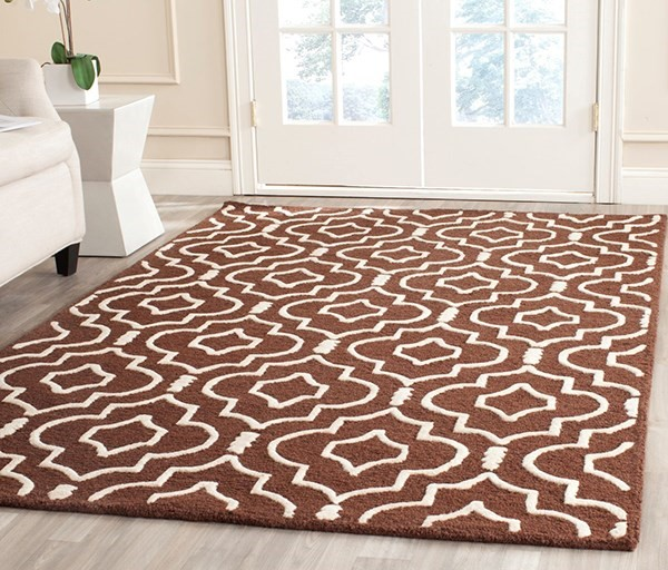 Dark Brown, Ivory (H) Moroccan Area Rug