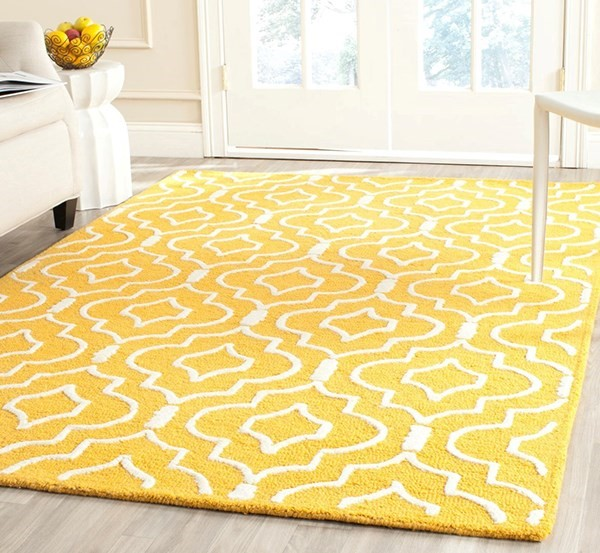 Gold, Ivory (Q) Moroccan Area Rug