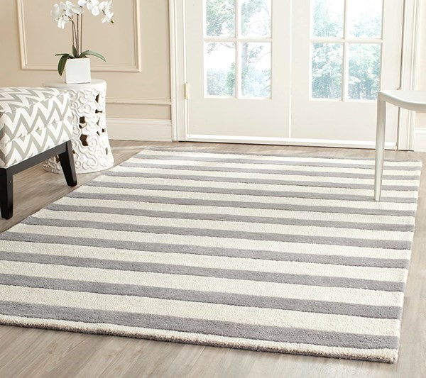 Grey, Ivory (A) Striped Area Rug