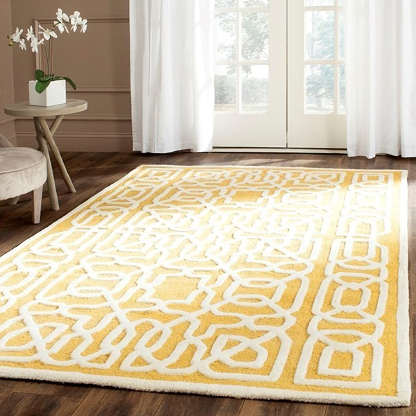 Gold, Ivory (Q) Transitional Area Rug