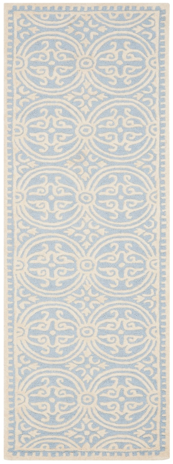 Light Blue, Ivory (A) Moroccan Area Rug