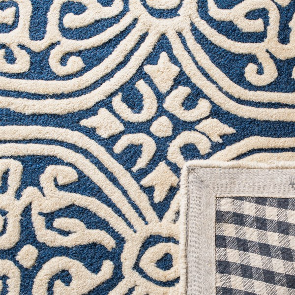 Navy Blue, Ivory (G) Moroccan Area Rug