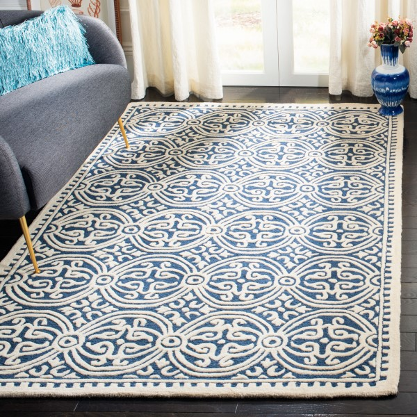 Navy Blue, Ivory (G) Contemporary / Modern Area Rug