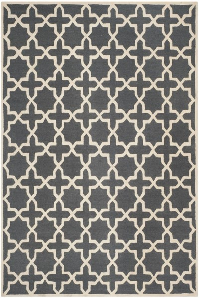 Dark Grey, Ivory (X) Contemporary / Modern Area Rug