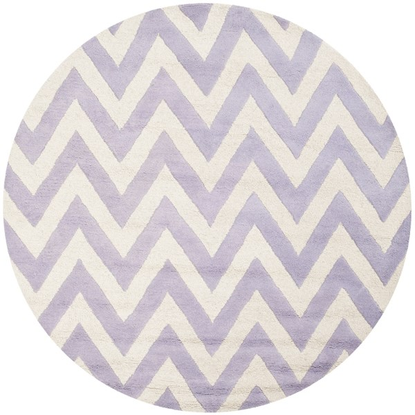 Lavender, Ivory (C) Contemporary / Modern Area Rug