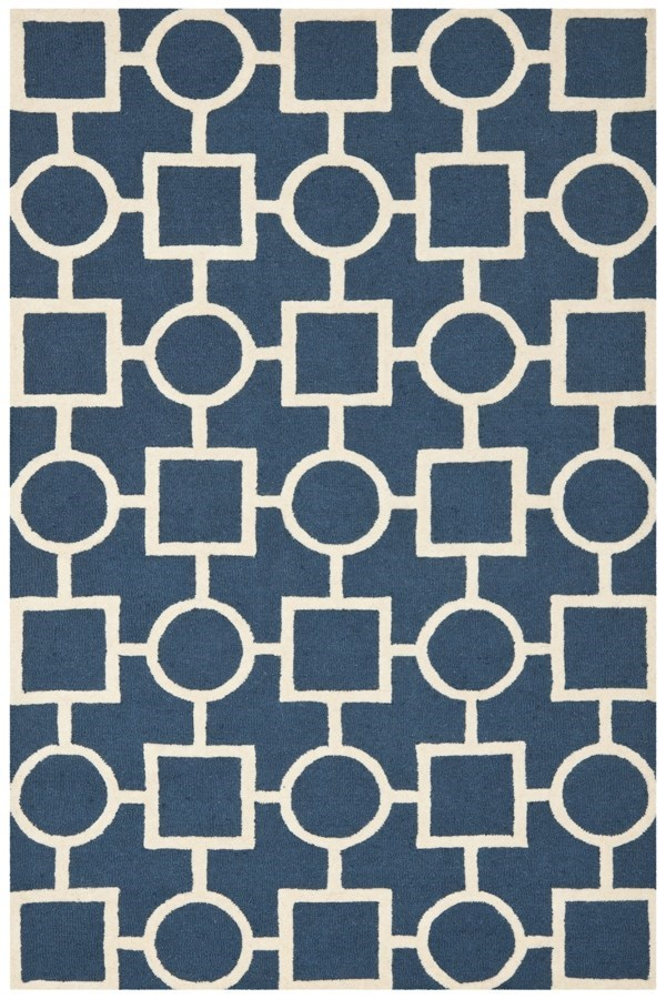 Navy Blue, Ivory (G) Transitional Area Rug