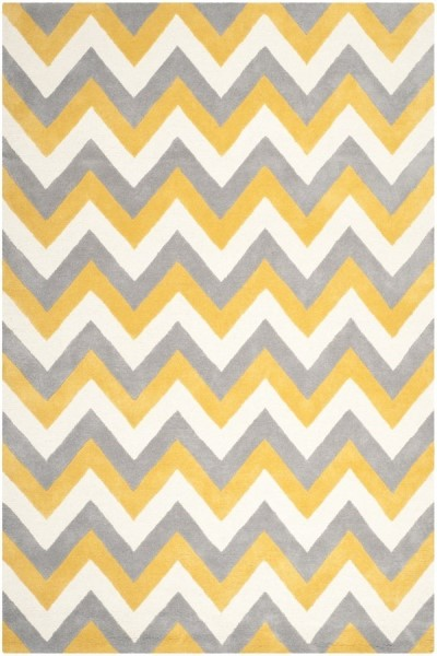 Grey, Gold (A) Contemporary / Modern Area Rug