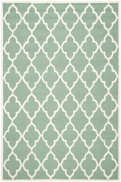 Teal, Ivory (T) Contemporary / Modern Area Rug