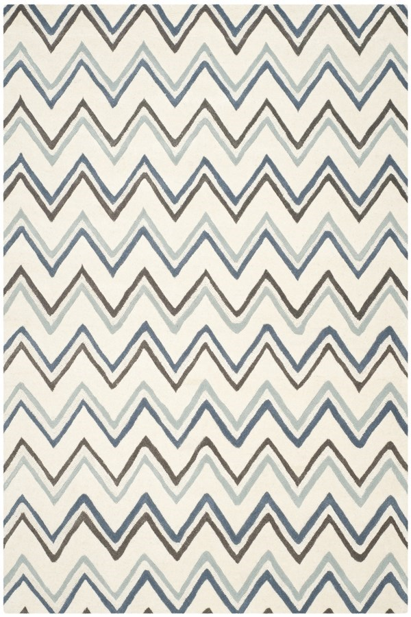 Ivory, Blue (A) Contemporary / Modern Area Rug