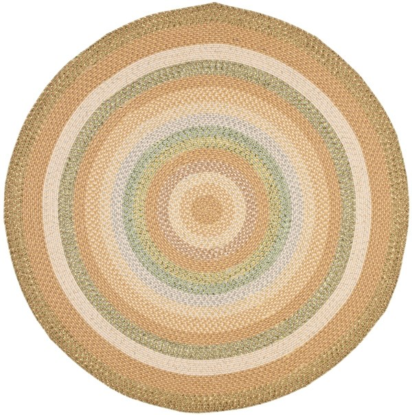 Tan, Green (A) Country Area Rug