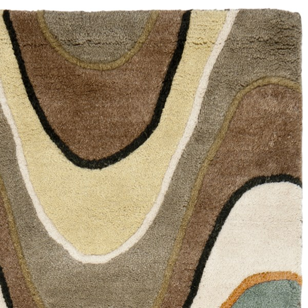 Brown, Ivory (A) Contemporary / Modern Area Rug