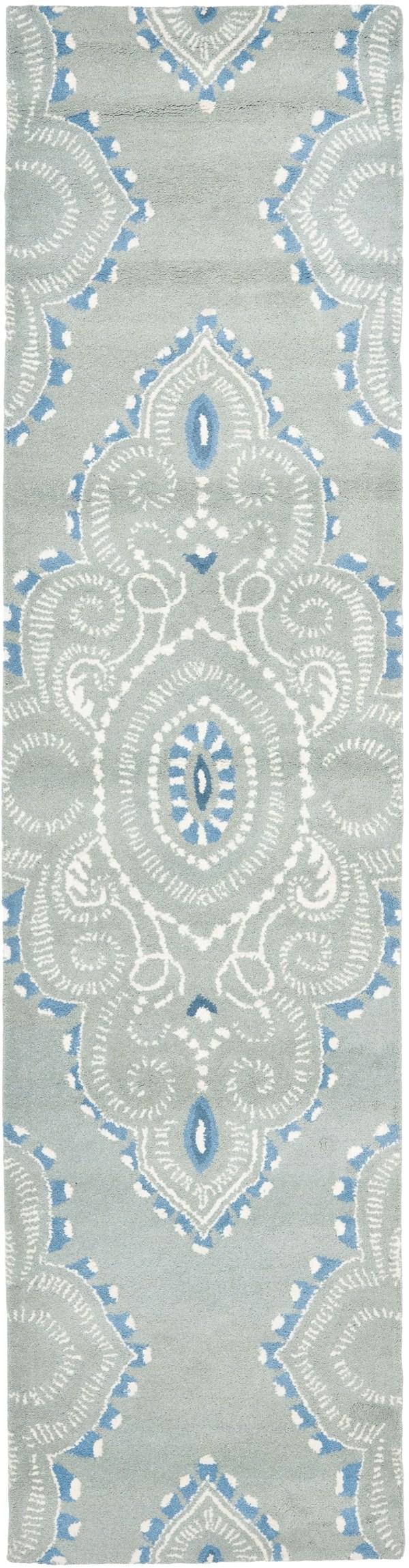 Blue, Ivory (A) Damask Area Rug