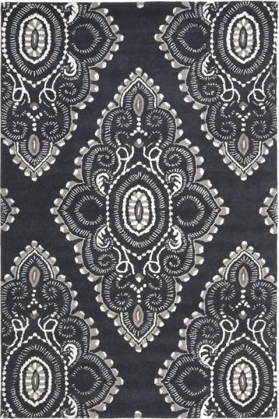 Dark Grey, Ivory (C) Traditional / Oriental Area Rug