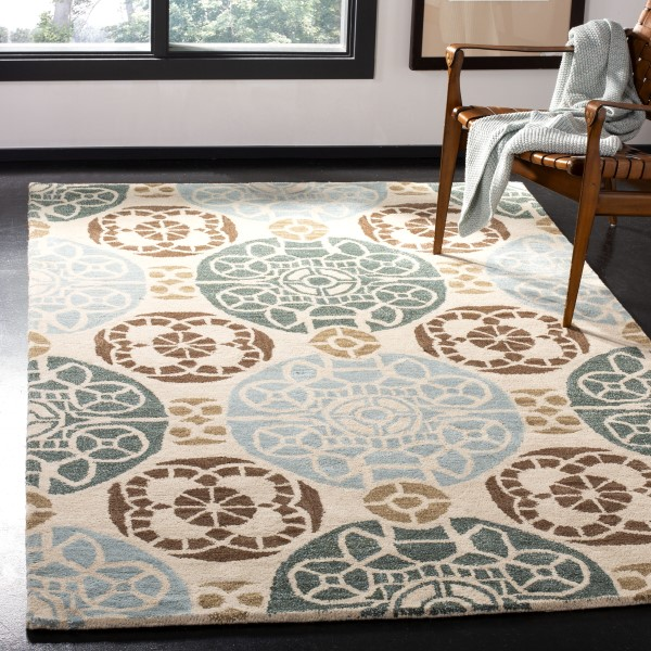 Beige, Blue (A) Contemporary / Modern Area Rug