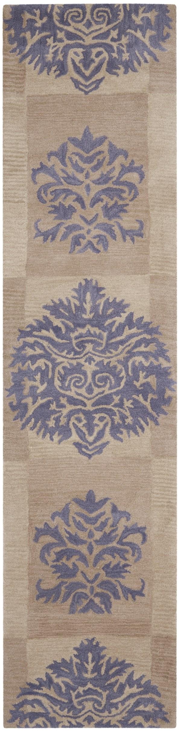 Beige, Lavender (A) Damask Area Rug