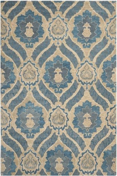 Blue, Grey (A) Traditional / Oriental Area Rug