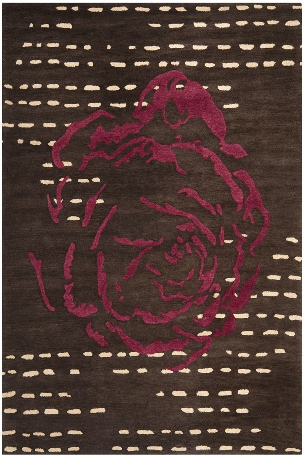 Charcoal, Red (A) Contemporary / Modern Area Rug