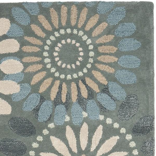 Grey, Blue (A) Contemporary / Modern Area Rug
