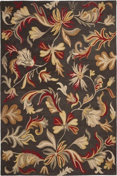 Dark Grey, Red (A) Floral / Botanical Area Rug