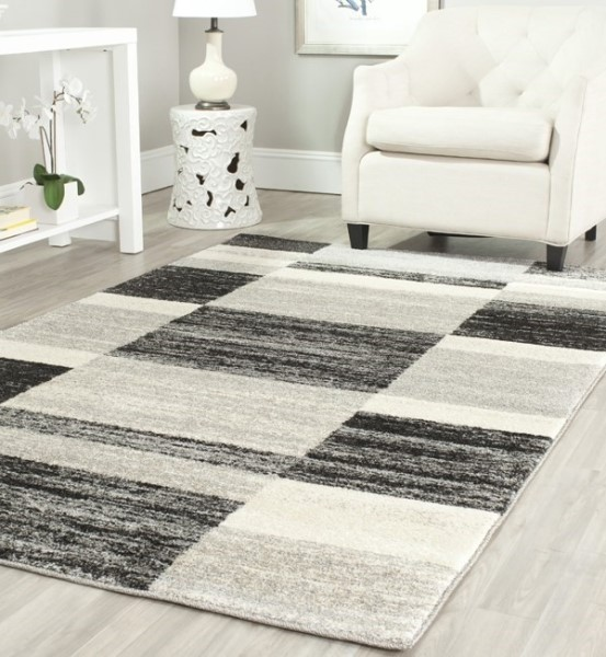 Black, Light Grey (9079) Geometric Area Rug