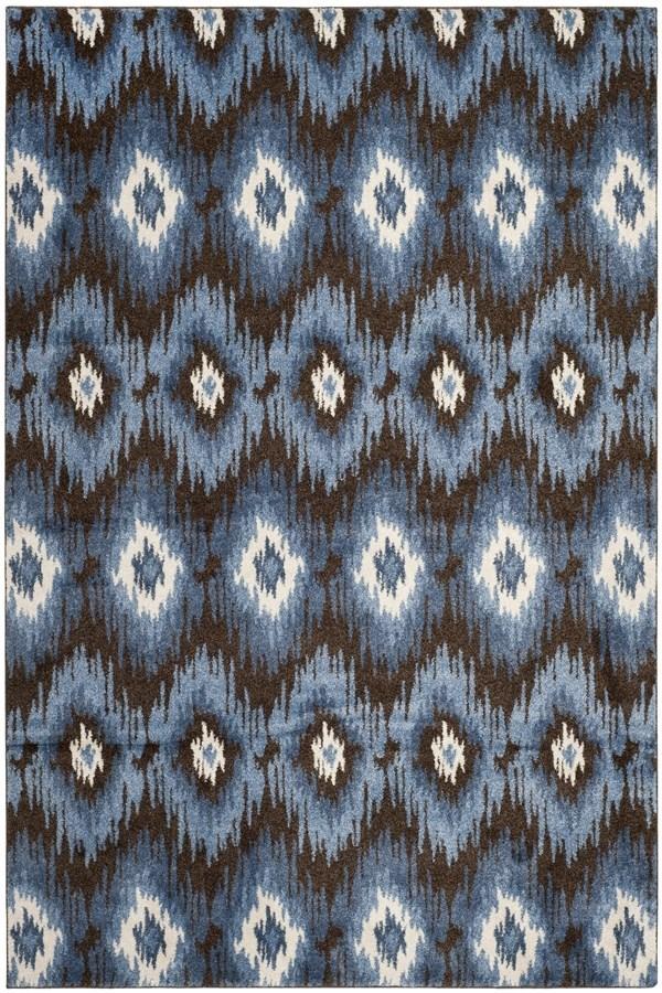 Dark Brown, Blue (2865) Ikat Area Rug