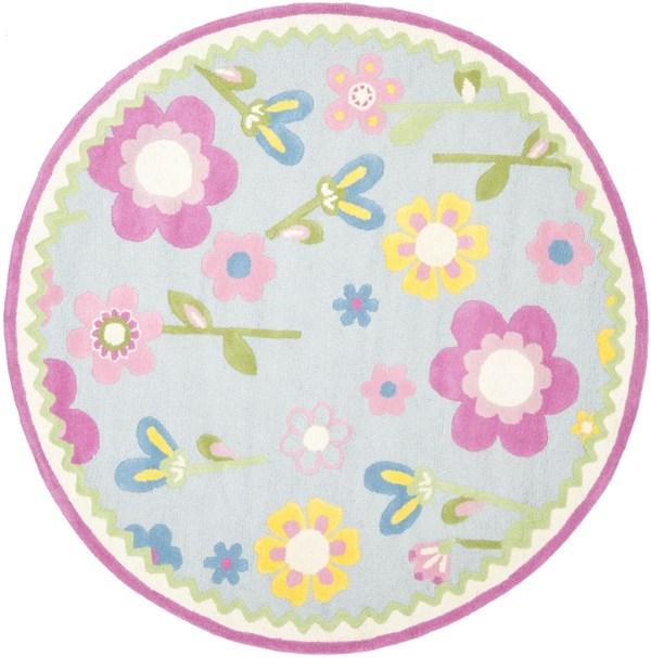 Blue, Pink (A) Floral / Botanical Area Rug
