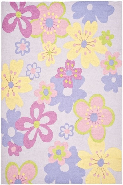 Lilac, Pink (A) Floral / Botanical Area Rug