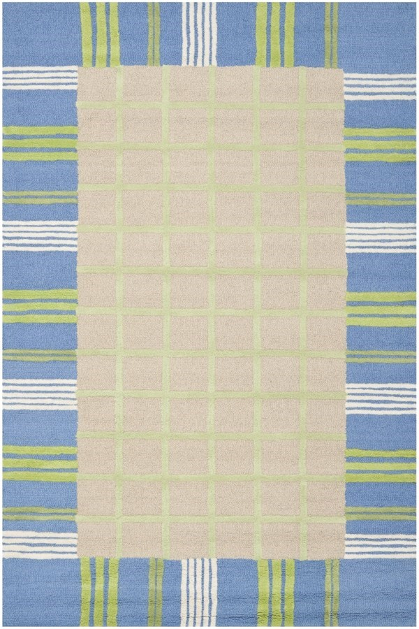 Taupe, Blue (A) Children's / Kids Area Rug