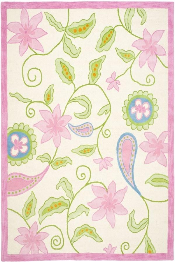 Ivory, Pink (A) Children's / Kids Area Rug
