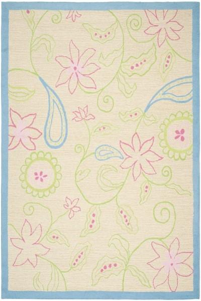 Ivory, Blue (A) Floral / Botanical Area Rug