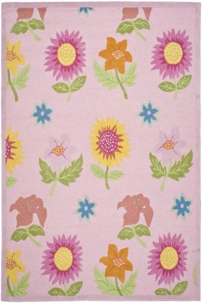 Pink, Blue (A) Floral / Botanical Area Rug