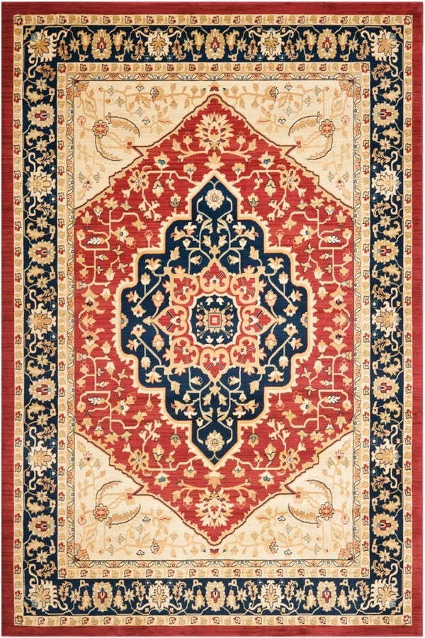 Red, Navy (4070) Traditional / Oriental Area Rug