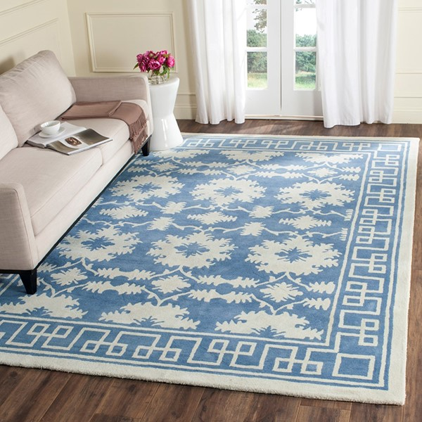 Blue, Ivory (A) Moroccan Area Rug