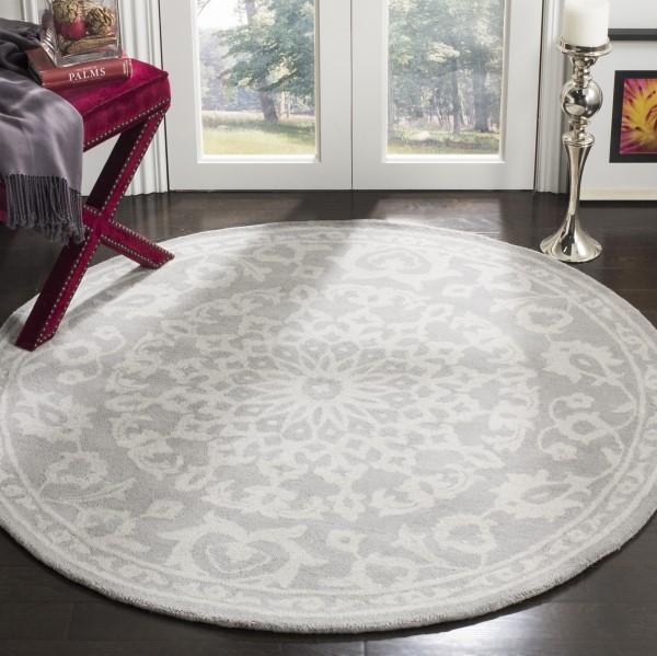 Grey, Silver (A) Mandala Area Rug