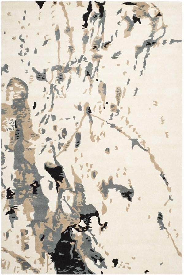 Ivory, Grey (A) Contemporary / Modern Area Rug