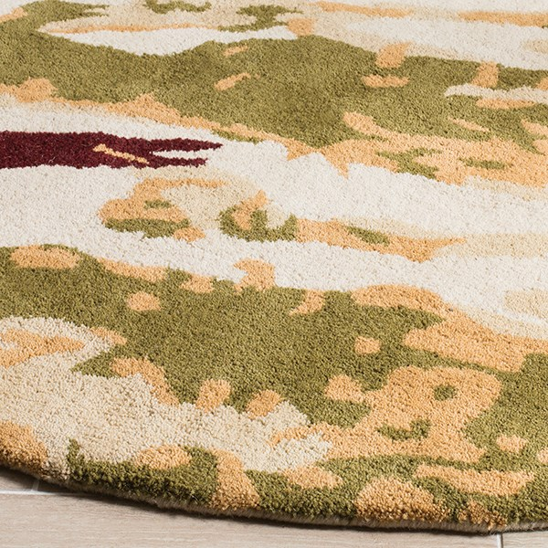Beige, Green (A) Contemporary / Modern Area Rug