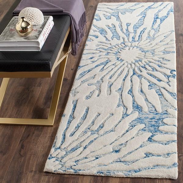 Dark Blue, Ivory (B) Contemporary / Modern Area Rug